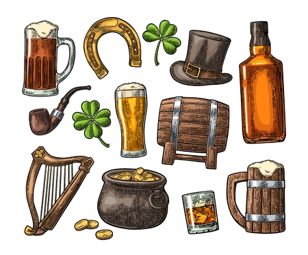 Saint Patrick s Day. Top gentleman hat, Pot of gold coins, whiskey, smoking pipe, beer glass, lyre, horseshoe, clover, barrel.