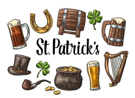 Saint Patrick s Day. Top gentleman hat, Pot of gold coins, smoking pipe, beer glass, lyre, horseshoe, clover, barrel.