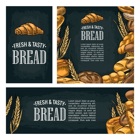 Set horizontal, vertical and square and posters with bread. Isolated on the dark background. Ilustrace