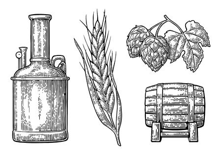 Reihe von Tanks, Hopfenniederlassung mit Blatt, Gerstenohr und Holzfass. Für die Produktion von Bierbrauen in der Plakatproduktion. Vektorgrafik