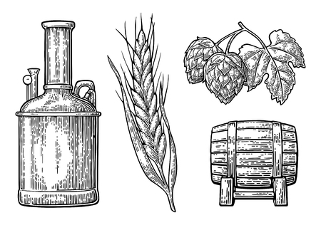 Row of tanks, hop branch with leaf, ear of barley and wooden barrel. For poster production process brewery beer.