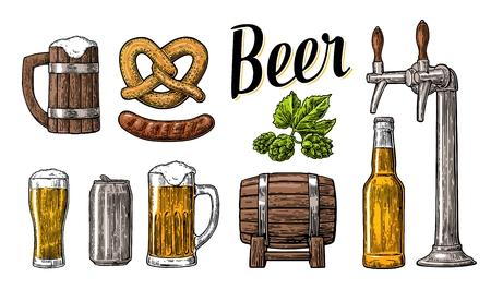 Beer set with tap, class, can, bottle, barrel, sausage, pretzel and hop. Vintage vector engraving illustration for web, poster.