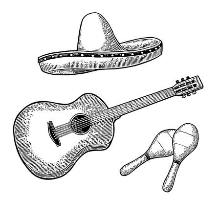 ポスター メキシコ カーニバルの設定します。ギター、マラカス、ソンブレロ。ビンテージ ベクトル黒彫刻イラスト。白い背景上に分離。  イラスト・ベクター素材