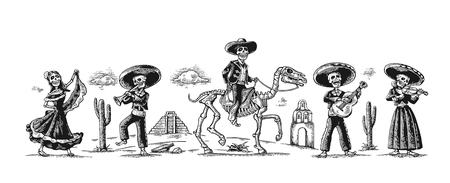 Day of the Dead, Dia de los Muertos. The skeleton in the Mexican national costumes dance, sing, play the guitar, violin, trumpet, rider on horse. Ilustração