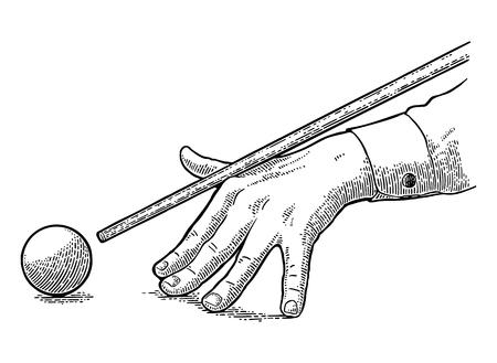 La main mâle dans une chemise est destinée à la balle. Illustration de gravure noire vintage pour affiche, club de billard à bannière. Isolé sur fond blanc.