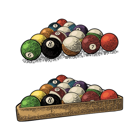 Billiard balls with number in triangle with shadow. Vintage color engraving illustration for poster, web. Isolated on white background.
