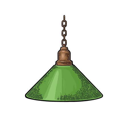 Hanging lamp with chain. Vintage color engraving illustration for poster, web. Isolated on white background. Ilustrace