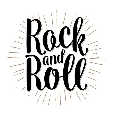 Letras de rock and roll com raios. Ilustração em vetor preto vintage para cartaz, web. Isolado no fundo branco. Foto de archivo - 77828642