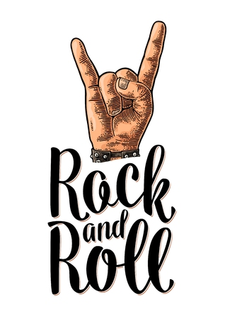 Rock and Roll sign. Hand with metal spiked bracelet giving the devil horns gesture. Vector color vintage engraved illustration with lettering. Isolated on white background. For festival poster