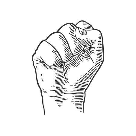 Mano humana con un puño cerrado. Vector ilustración vintage negro grabado aislado sobre fondo blanco. Muestra de la mano para la tela, cartel, info gráfica