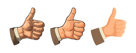 Hand showing symbol Like. Making thumb up gesture. Hand drawn design element. Vector color vintage engraved and flat illustration isolated on white background. Sign for poster, web, info graphic