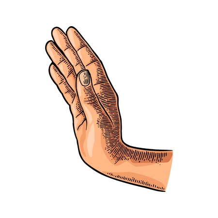 Female hand showing stop gesture. Vector color vintage engraving illustration isolated on a white background. For web, poster, info graphic. Ilustração