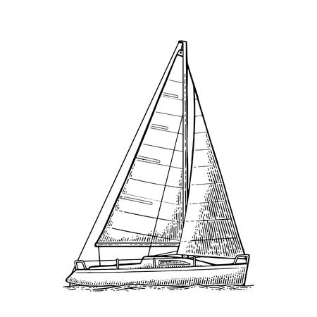 白い背景で隔離の波と帆船。ベクトル ヴィンテージ黒イラストを彫刻します。手描きグラフィック スタイルです。ヨット クラブ。