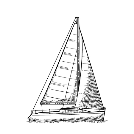 Sailing ship with wave isolated on white background. Vector vintage black engraving illustration. Hand drawn graphic style. For yacht club. Ilustracja
