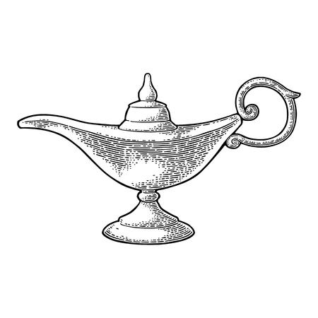 アラジン魔法の金属ランプ。ベクトル黒ヴィンテージは、白い背景で隔離の図の彫刻します。