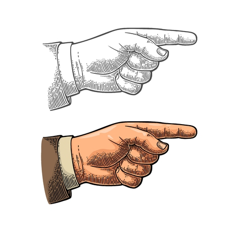 Pointing finger. Vector color and black vintage engraved illustration isolated on a white background. Hand sign for web, poster, info graphic Illustration
