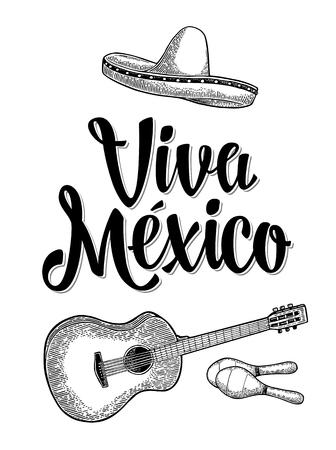 Viva Mexico lettering e chitarra, maracas e sombrero. Illustrazione di incisione nero vettoriale vintage. Isolato su sfondo bianco Archivio Fotografico - 77976294