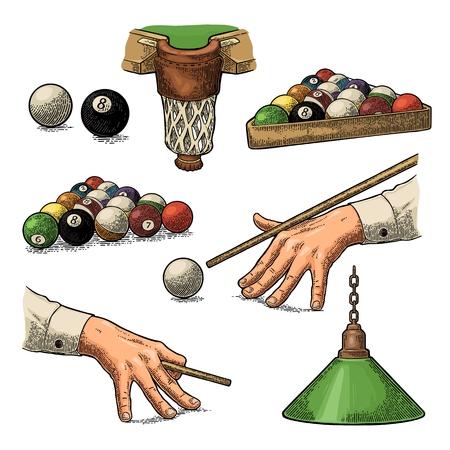 Biljart. Cue sticks, ballen, krijt blok, zak en lamp. Vintage kleur gravure illustratie voor poster, web. Geïsoleerd op witte achtergrond