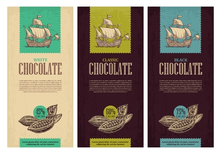 Set of label for chocolate with fruits of cocoa beans and sailing ship floating on the sea waves. Vector vintage engraved illustration. Black on white background. Illustration