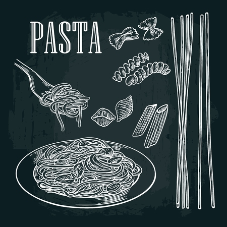 Set pasta - farfalle, conchiglie, penne, fusilli, spaghetti. Vector vintage white illustration isolated on black background.