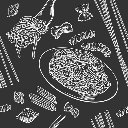 Seamless pattern set pasta. Vector vintage engraving illustration for poster, menu, web, banner, info graphic. Isolated on black background