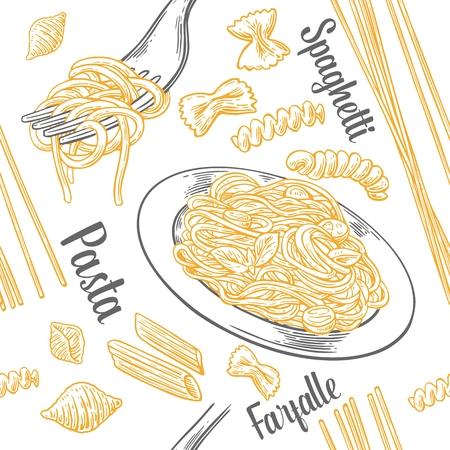 Seamless pattern set pasta con titolo. Farfalle, conchiglie, penne, fusilli e spaghetti sulla forcella. Illustrazione di incisione vintage di vettore per poster, menu, web, banner, grafica info. Isolato su sfondo bianco Archivio Fotografico - 77976431