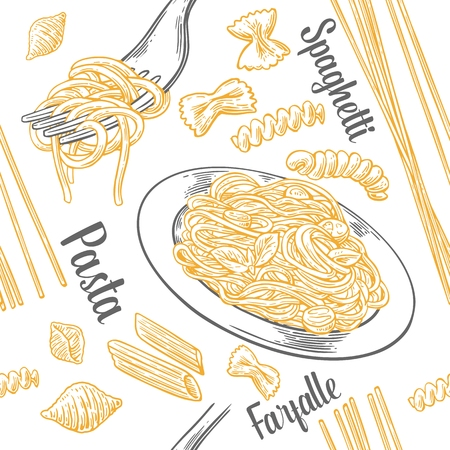Seamless pattern set pasta with title. Farfalle, conchiglie, penne, fusilli and spaghetti on fork. Vector vintage engraving illustration for poster, menu, web, banner, info graphic. Isolated on white background