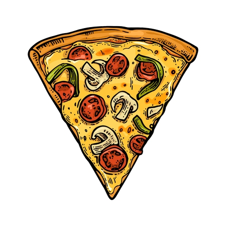 Slice pizza mexican. Vintage vector color engraving illustration for poster, menu, box. Isolated on white background Illustration