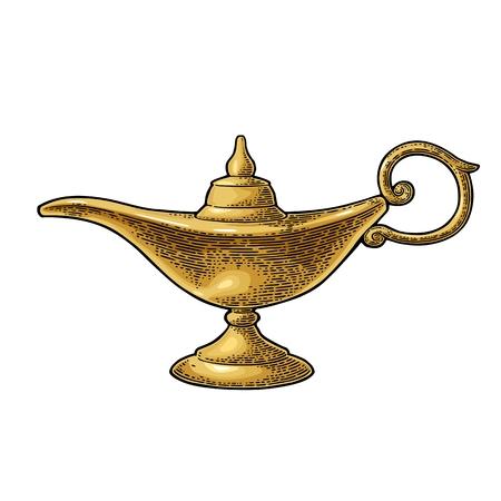 Aladdin magische Metalllampe. Vektor schwarz Vintage Gravur Standard-Bild - 78080098