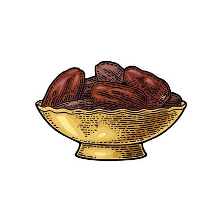 Sweet dates fruit in the bowl. Vector black vintage engraving