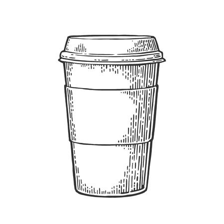 キャップとカップ ホルダー付きテイクアウト コーヒーを閉じます。  イラスト・ベクター素材