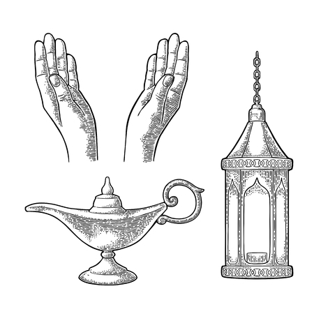supplicate: Praying Hands, arabic lamp with chain and Aladdin lamp