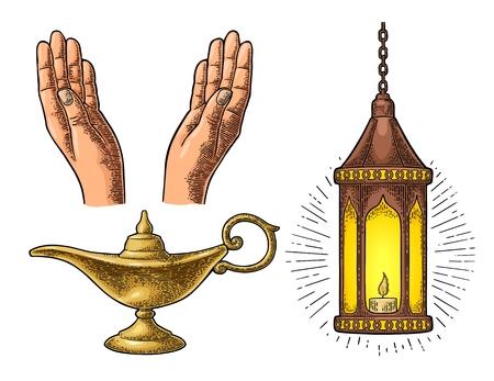 Praying Hands, lampe arabe avec chaîne et lampe Aladdin Banque d'images - 78593028