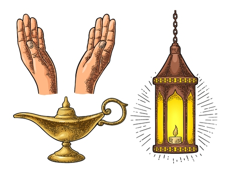 Praying Hands, arabic lamp with chain and Aladdin lamp