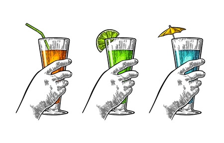 Female hand holding a glasses of cocktails. Vintage vector engraving