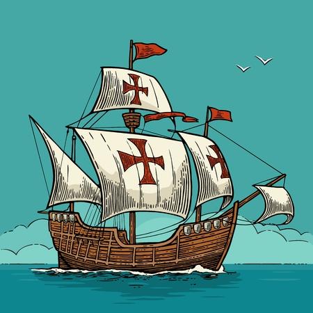 Voilier flottant sur les vagues de la mer. Caravel Santa Maria.