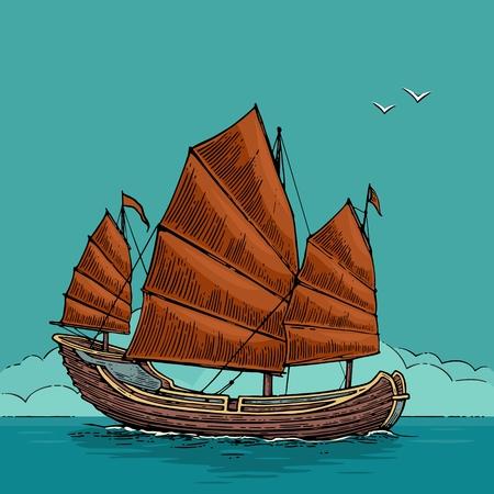 Junk floating on the sea waves. Hand drawn design element sailing ship. Illustration