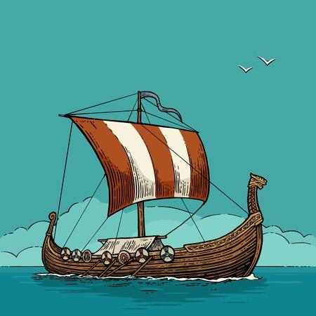 Drakkar floating on the sea waves