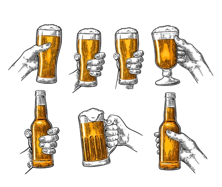 Man and woman hands holding, clinking with beer glass, bottle Illustration