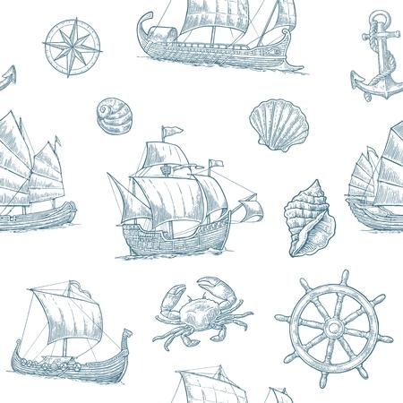 Naadloos patroon met trireme, caravel, Dakar, junk, anker, schelp, wiel.
