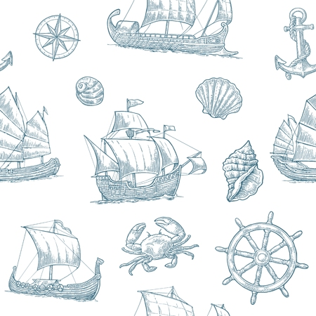 Seamless pattern with trireme, caravel, Dakar, junk, anchor, shell, wheel.