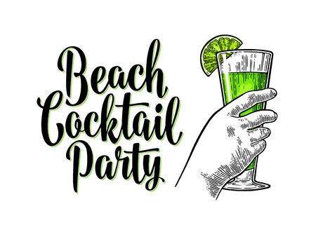 Alcohol green cocktail with slise lime. Vintage engraving with lettering.