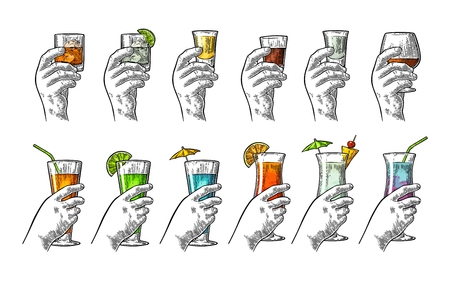 Hand holding glass tequila, vodka, rum, cognac, whiskey, gin, cocktail. Illustration
