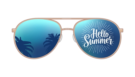 eyewear: Aviator modern sunglasses with palms reflection and Hello Summer lettering.