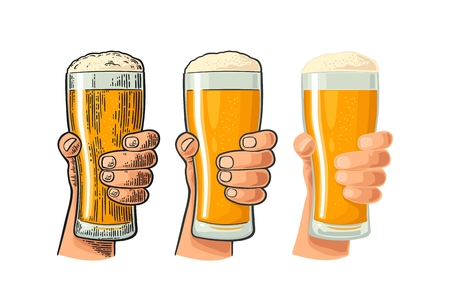 Man hand holding and clinking beer glass. Different graphic styles