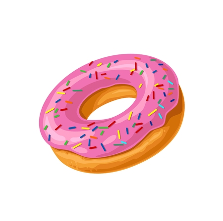 Donut with pink icing and white stripes. Vector color flat.
