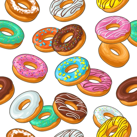 Seamless pattern set donut with different icing, glaze, stripes, sprinkles.