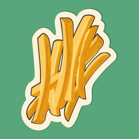 French fry stick potato. Vector isolated flat illustration for icon