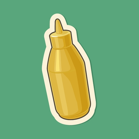 Plastic bottles of mustard. Vector flat illustration