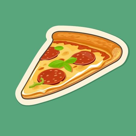 ピザ ペパロニをスライスします。ベクトル フラット図  イラスト・ベクター素材
